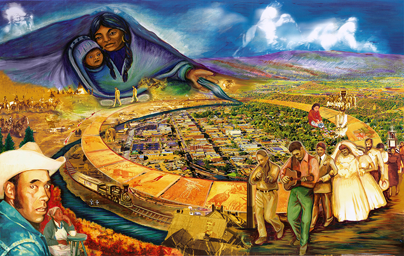 Durango Mural combining Hand Painted and Digital Imagery