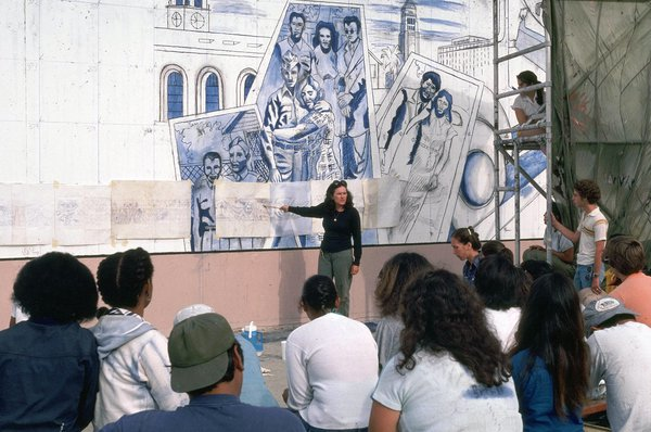 Artist Judith F. Baca and community members at work on The Great Wall of Los Angeles (1930's section), 1976. Courtesy of the Social and Public Art Resource Center (SPARC).